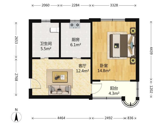 鼓楼区江东佳和园1室1厅户型图